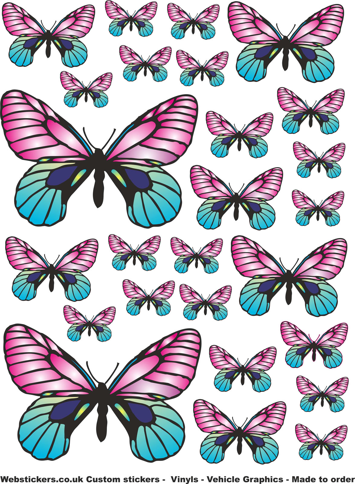 26 Pink Blue Butterfly Stickers Car Laptop Home Ebay
