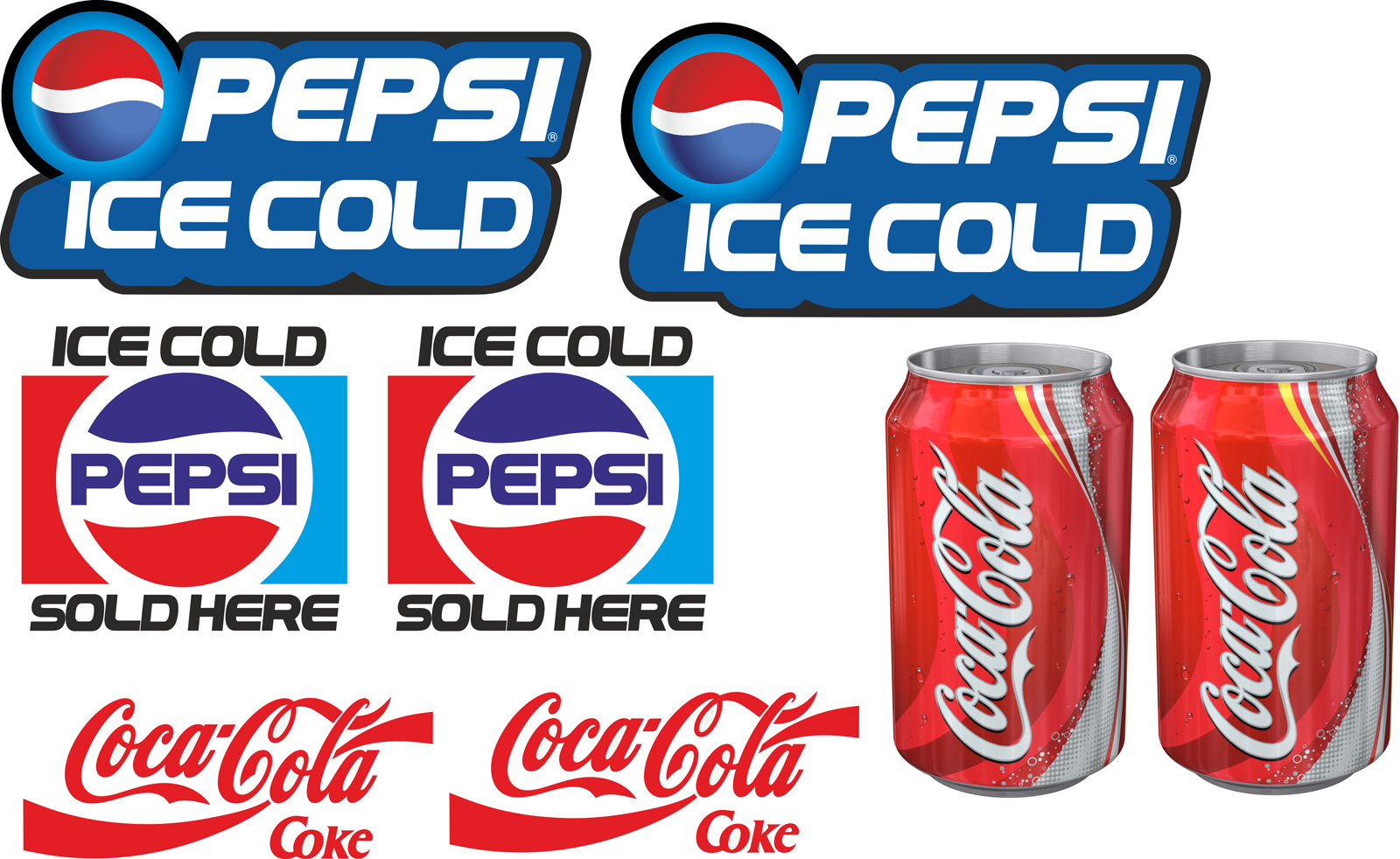 8 Laminated Cold Drink Catering Stickers For Ice Cream Van