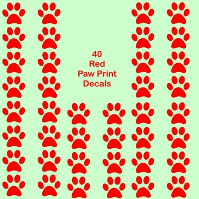 40 Bright Red Paw print cat dog vinyl stickers