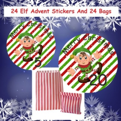 24 Elf Christmas Advent Calendar Stickers & 24 Paper Red Bags Boys or Girls