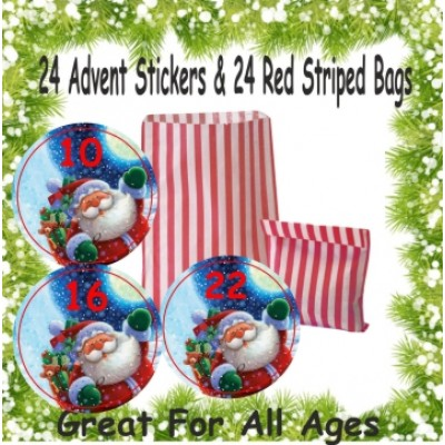 24 Father Christmas Advent Calendar Stickers & 24 Red Striped Bags