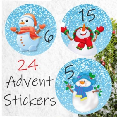 24 Colourful snowmen Advent Calendar Stickers  Countdown to Christmas