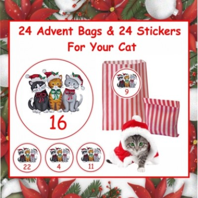 Christmas Advent  24 Stickers & Bags For Cats, Kittens they'll love it
