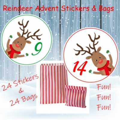 24 Christmas Advent Calendar Stickers & 24 Paper Red Bags Boys or Girls Reindeer