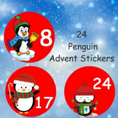 24 Penguin Advent Calendar Stickers for Boys or Girls Countdown to Christmas