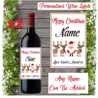 2 Personalised Name Wine Bottle Labels Vinyl Sticker Christmas gift Secret santa