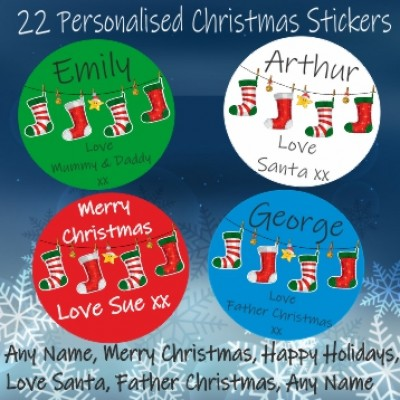 22 Personalised Christmas Stickers Ideal for Presents Labels Santa Gift Tags