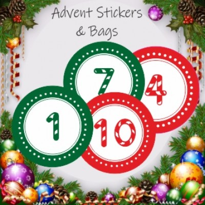24 Advent Calendar Stickers & 24 Red Striped Bags for Boys or Girls Christmas