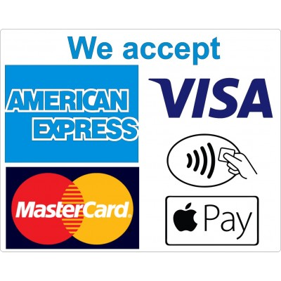 4 x We Accept Card Payments  and Contactless  stickers