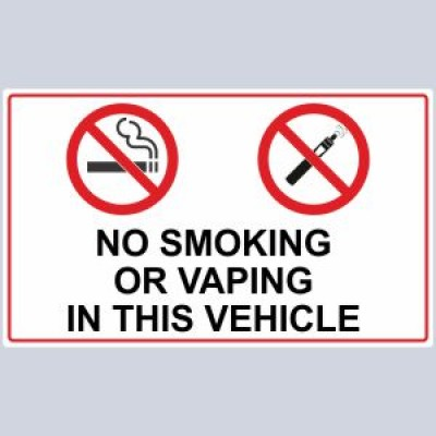 No Smoking No Vaping In This Vehicle Stickers