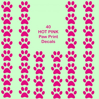 40 Hot Pink Paw print cat dog vinyl stickers