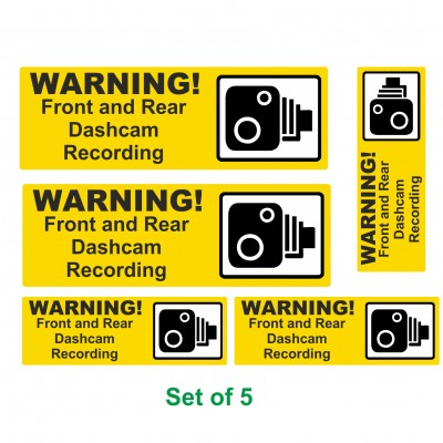 Set of 5 Dashcam Recording Warning stickers