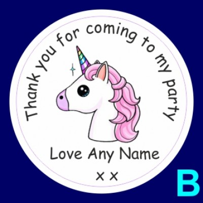 Unicorn Personalied Birthday Party Thank you stickers