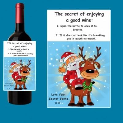 3 x Secret Santa Wine Bottle Vinyl Labels Christmas Gift Family and Friends