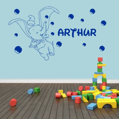 Childrens Personalised Dumbo Elephant and Bubbles  Vinyl Wall Art Decal Sticker