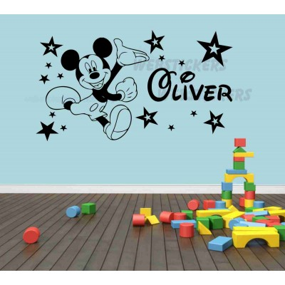 Mickey Mouse and stars Boys / Girls bedroom  wall art