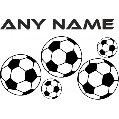 Personalised Name or Team and football vinyl wall sticker decal Boys or Girls